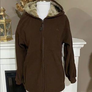 Snozu Brown Fleece Zip Up Faux Fur Lined Hoodie